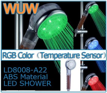LD8008-A22 LED light Anion SPA Handle Shower Head ABS RGB 3 Color Temperature Controlled Sensor Water Flow Showerhead