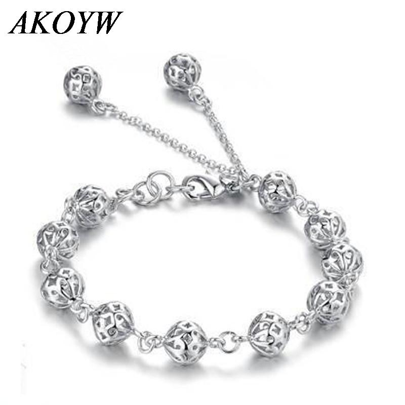 Silver plated hollow ball bracelet ladies fashion jewelry lovely wild high-quality jewelry 17.5CM(China (Mainland))