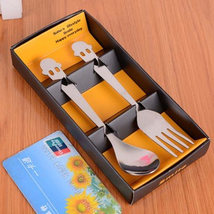lovely smiling face Convenient stainless steel tableware set one spoon fork C2323 - Sue Sui's Club store