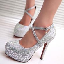 2015 Fashion Crystal Rhinestone High Heels Silver Stiletto Women Platform Bride Red Wedding Shoes