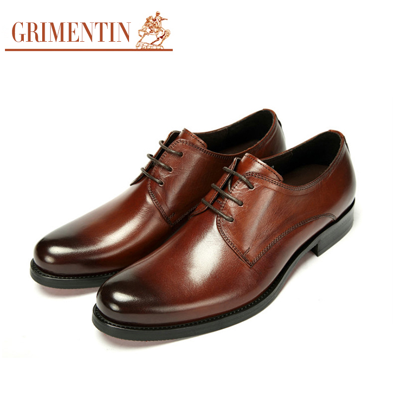 GRIMENTIN high top designer casual oxfords man shoes leather black brown lace flats men leisure business size:6-11 #354 - store