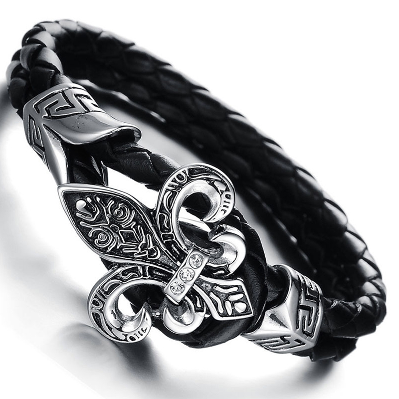 Wholesale New Fashion Vintage Jewelry Stainless Steel Bracelets Black Genuine Leather Rope Hand Chain Men Zircon Bangles LPH847(China (Mainland))