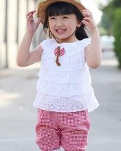 Summer Children's Sets Lace Children Girl Clothes T Shirt And Lattice shorts Pants 2 Colors