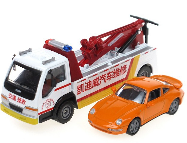 2014 best quality gift for children alloy engineering car model road wrecker truck and car sets cars toy with box free shipping(China (Mainland))