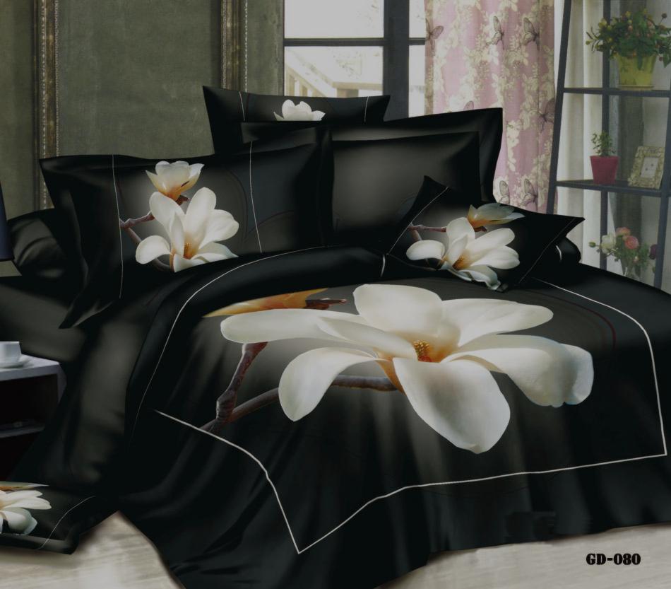 modern print duvet covers promotion shop for promotional modern luxury white big magnolia flower 3d print duvet cover bed linen sheets pillow case designer 7 piece bedding set super king size