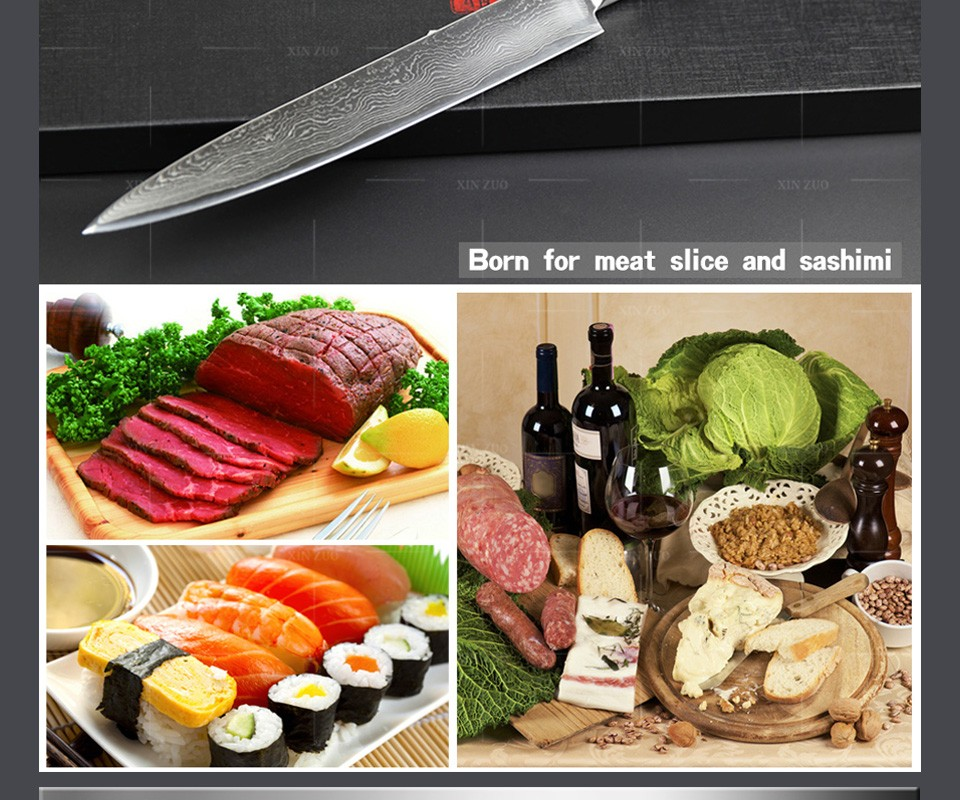 "Buy HOT SALE 2016 NEW 8"" inches cleaver knives Japanese VG10 Damascus steel kitchen slicing/Carving knife wood handle FREE SHIPPING cheap"