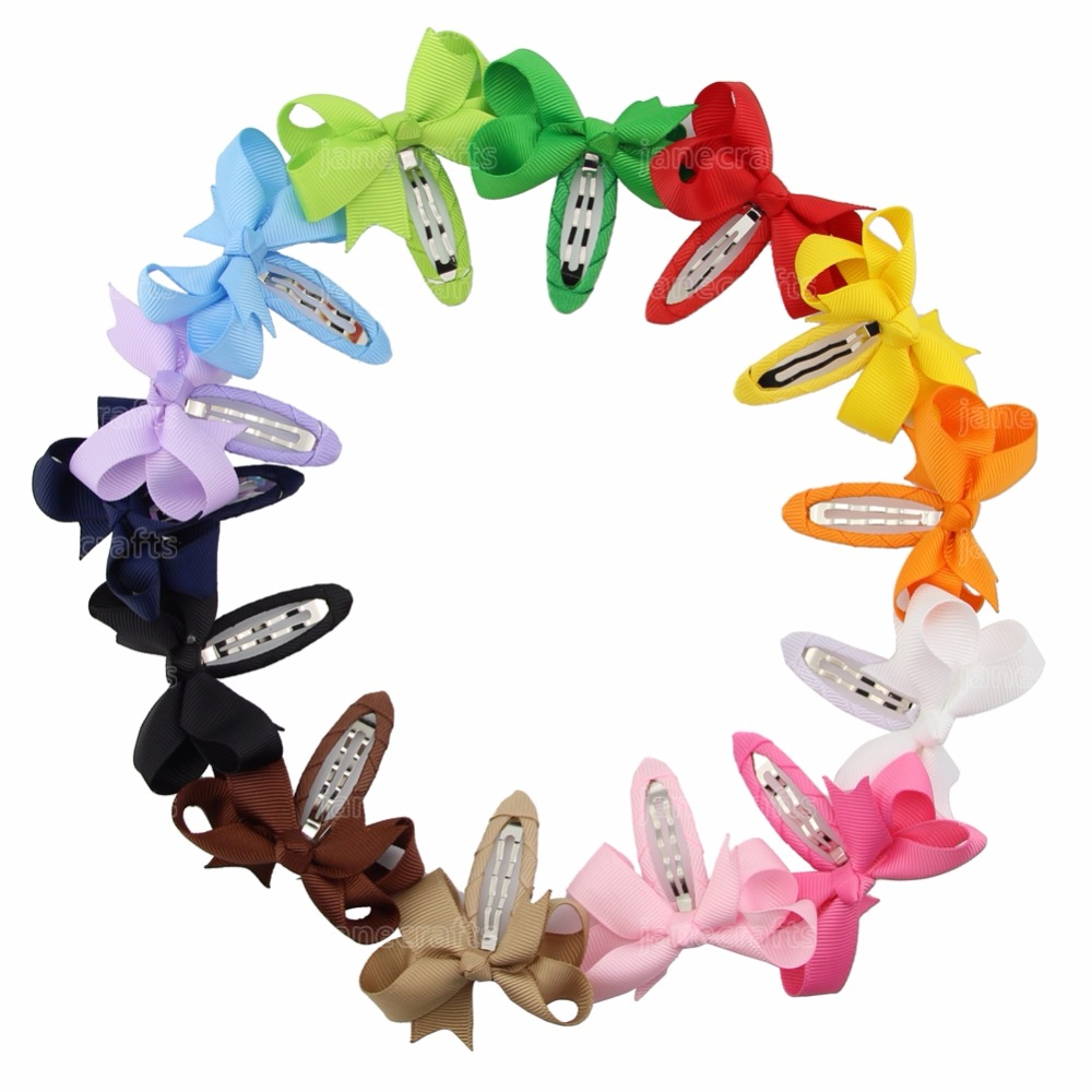 New Fashion 28 PCS/Lot Baby Girl Grosgrain Ribbon Bows Hair Clips 2.5 Inch 14 Mixed Color Cute Bow Snap Clips Headwear(China (Mainland))