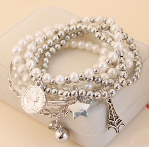 Charming Elegant Women Pearl Bracelets Bangles Multilayer Wrap Bracelet Eiffel Tower Coin 5 + 1 Bangle - China Style You are Star store