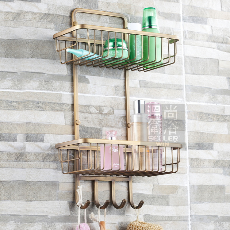 free shiping antique bronze copper 2 tier bathroom organizer shower caddy decorative wall