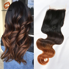Cheap Ombre Brazilian Hair Extensions Brazilian Ombre Closure Virgin Hair Body Wave 4*4inch 12-24inch Free Part Lace Closure