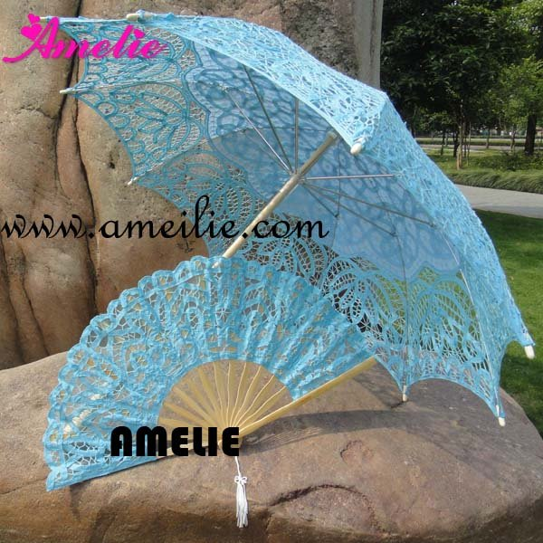 Royal Vintage Battenberg Lace Parasol Sun Umbrella & Fan in Blue Handmade for Wedding,Free Shipping