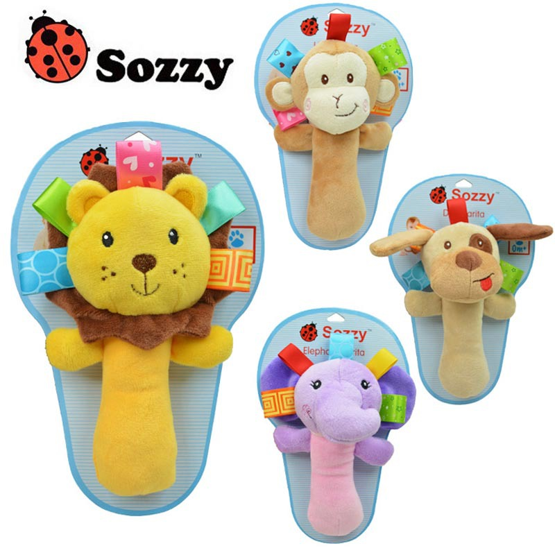 1pcs Hot sale infant animal hand bell chicco baby Rattles plush stuffed toy cute juguetes mobile baby brinquedos(China (Mainland))