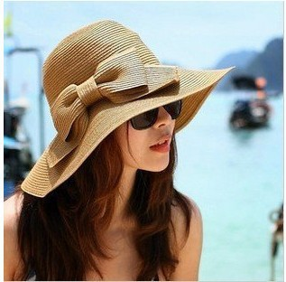 Big butterfly knot lady Beach Hat can be folded(China (Mainland))