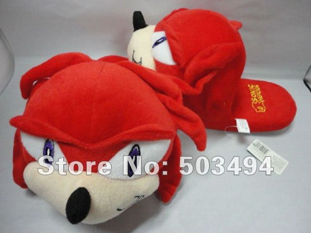 Free Shipping EMS 40/LOT New arrival Red Sonic Plush Slippers Adult Slipper