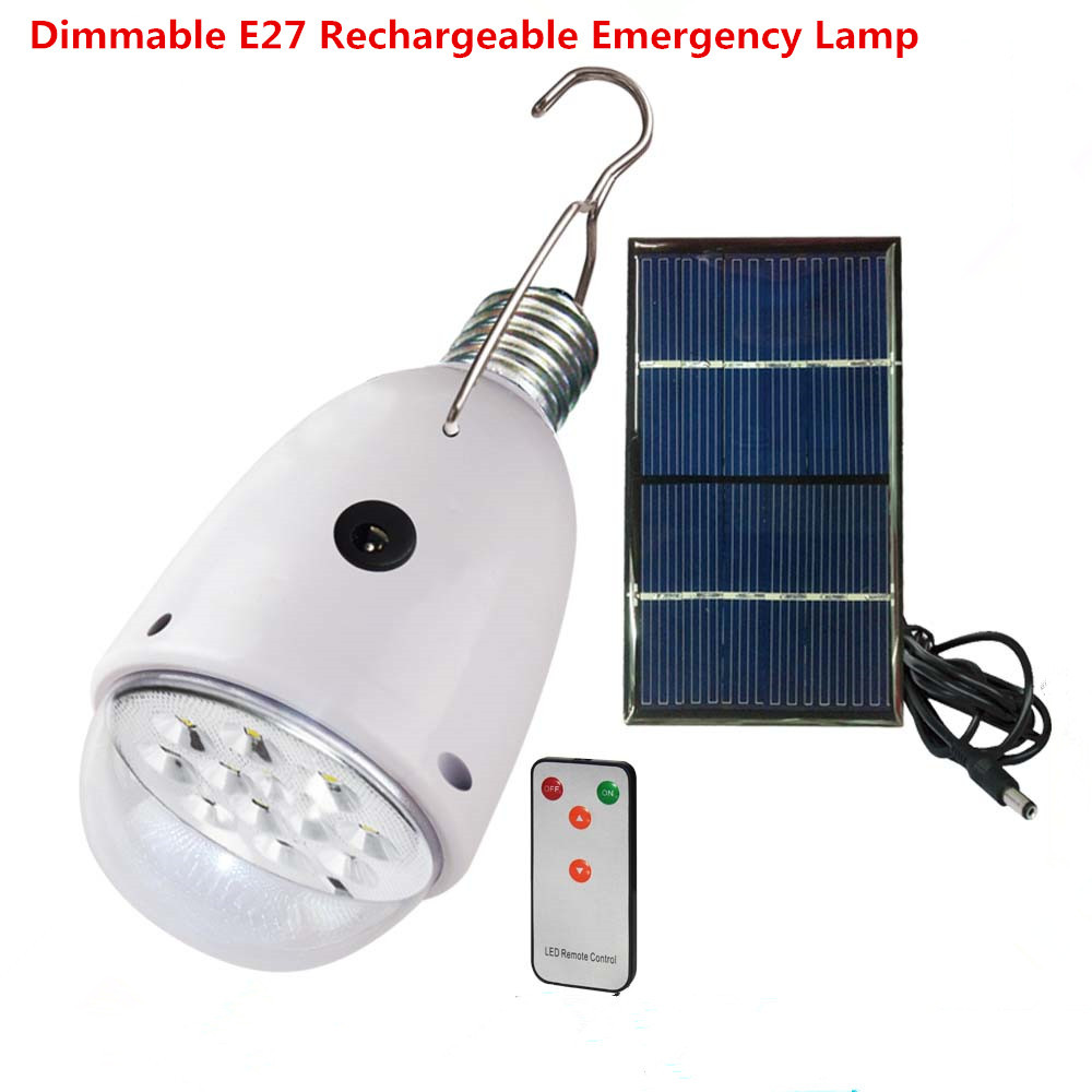 Rechargebal  indoor lighting Dimmable E27 led solar lamp with remote control  AC90~260V/DC6V outdoor lighting solar caping light