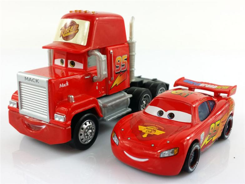 2Pcs Original Pixar Cars Lightning Mc & Mack Truck Hauler Loose New(China (Mainland))