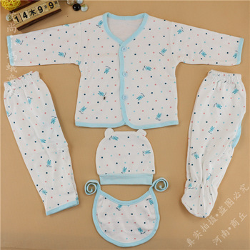 E11*5pcs/set:100% Cotton 0-6 months Long-sleeved Newborn Gift Set/Infant Clothing Set/Baby Suits Girl/Boy's Clothes Gift Sets