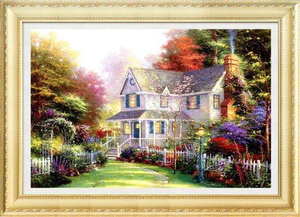 Diy diamond painting scenery 70x50CM Dream cottage 5D magic cube round Home decor Rhinestone pasted mosaic - Diamond cross stitch stores store