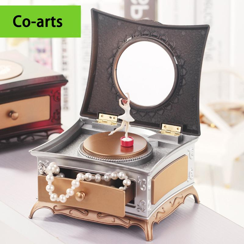 New classical dressing table rotary dance ballet little girl eight music box makeup mirror imitation retro Valentine's Day gift(China (Mainland))