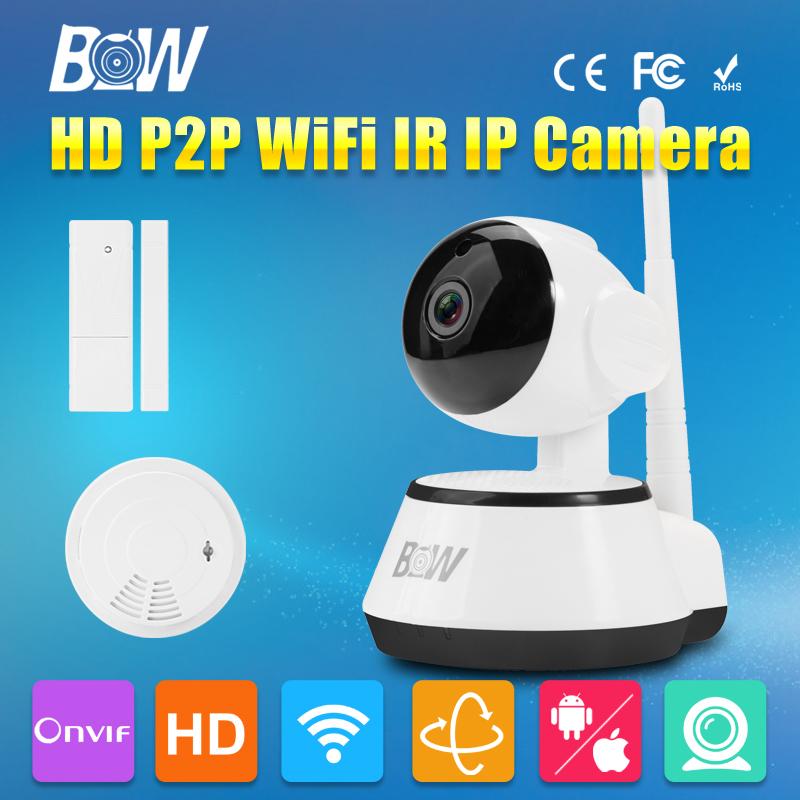 Wifi IP Camera HD 720P P2P Wireless Network Baby Monitor CCTV + Door Sensor + Smoke Detector Onvif Video Security Surveillance(China (Mainland))