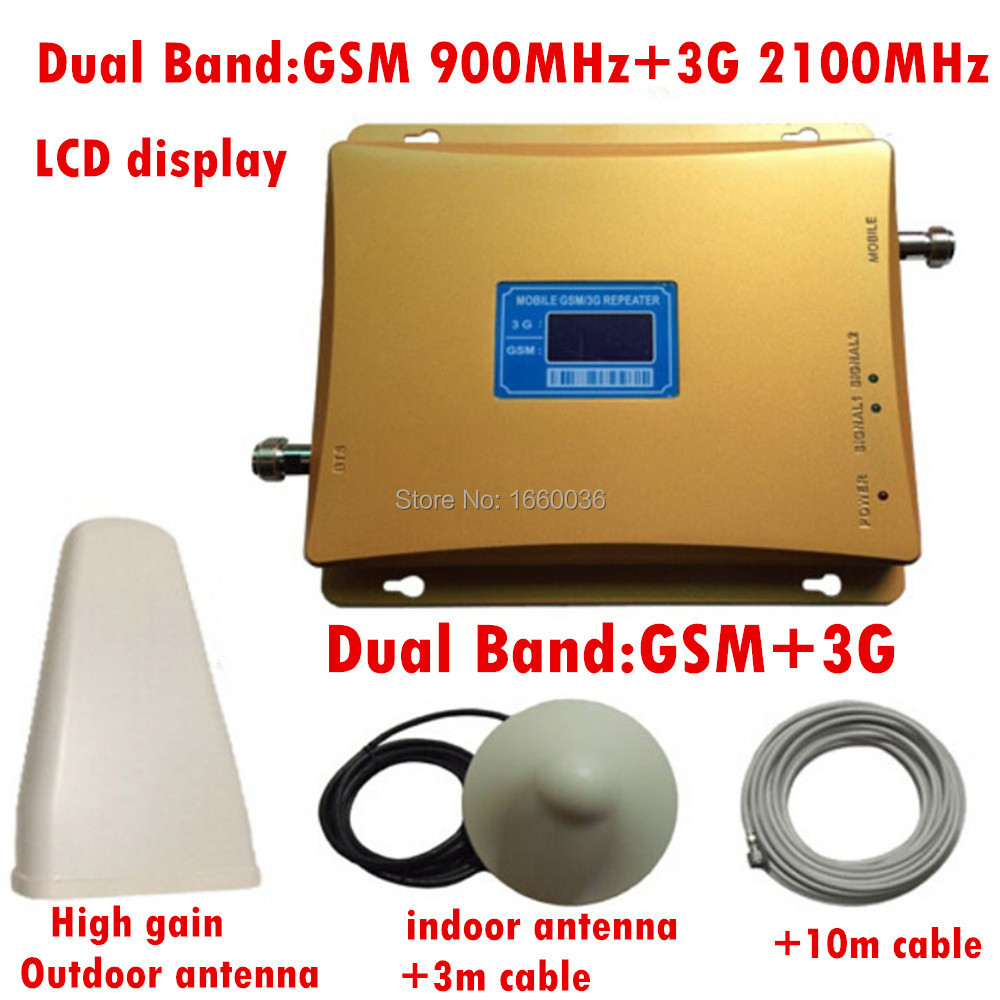 1 Set Dual Band GSM 900 and 3g Repeater for Signal Repeater Amplifier, 3g Signal Amplifier ,GSM Repeater 3g Booster 2100mhz(China (Mainland))