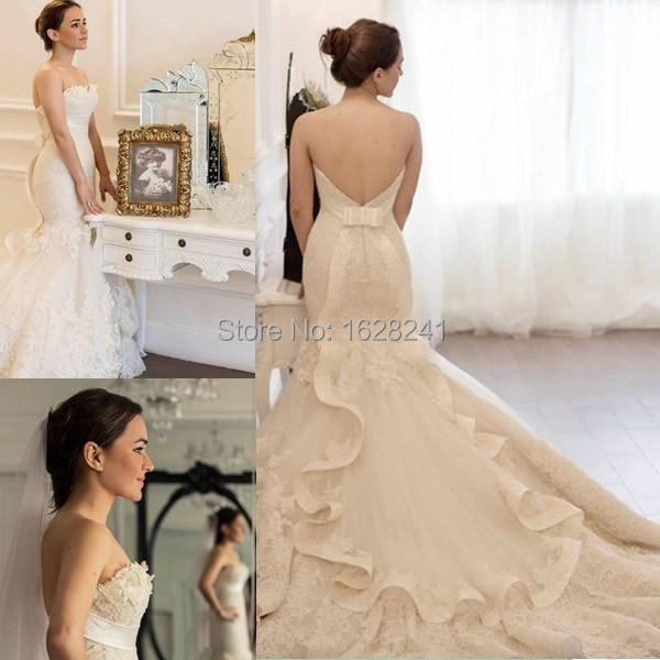 2015 Bridal Gown Designers White Brand Lace Mermaid