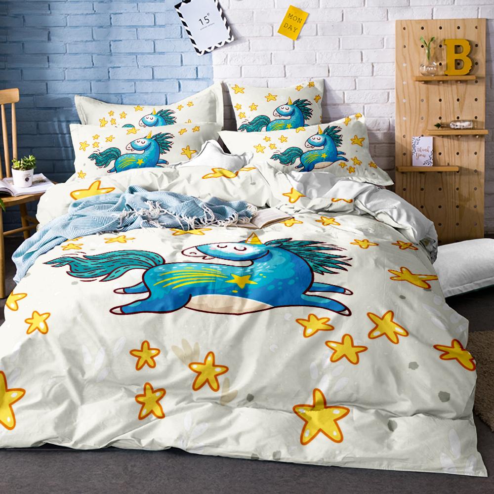 4b2ff9bf28f3 Cute Unicorn Comforter Bedding Set Cartoon Duvet Cover Twin Full Queen King  Size 3PCS Bedclothes
