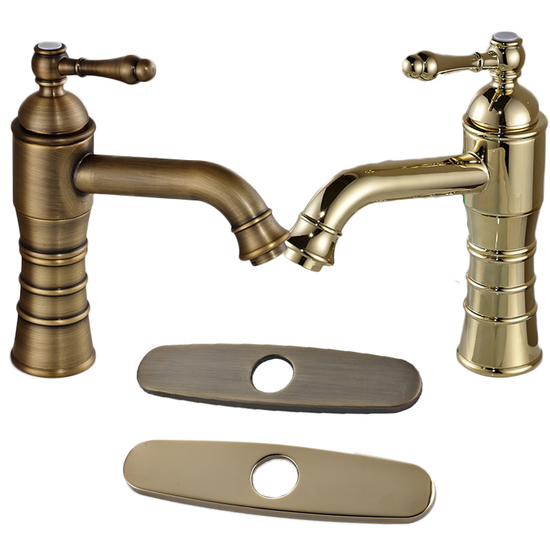 Free shipping antique brass golden basin faucet bathroom lavatory sink mixer tap 8 decorate Antique brass faucet bathroom