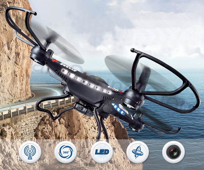 2015 Top Selling Out-door Cool Gadgets DFD F183/JJRC H8C 2.4G RC Helicopter 6-Axis GYRO Quad copter Drone With Camera LED(China (Mainland))
