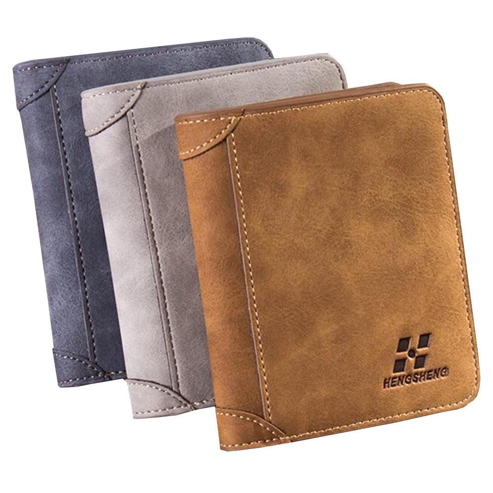 High quality men's retro matte PU leather Wallets men ...