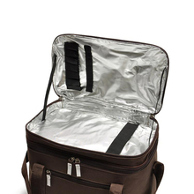2016 Exclusive Customized Large Volume Brown Thermal Cooler Bag outdoor 2-layers Picnic storage bag w/ aluminum foil(China (Mainland))