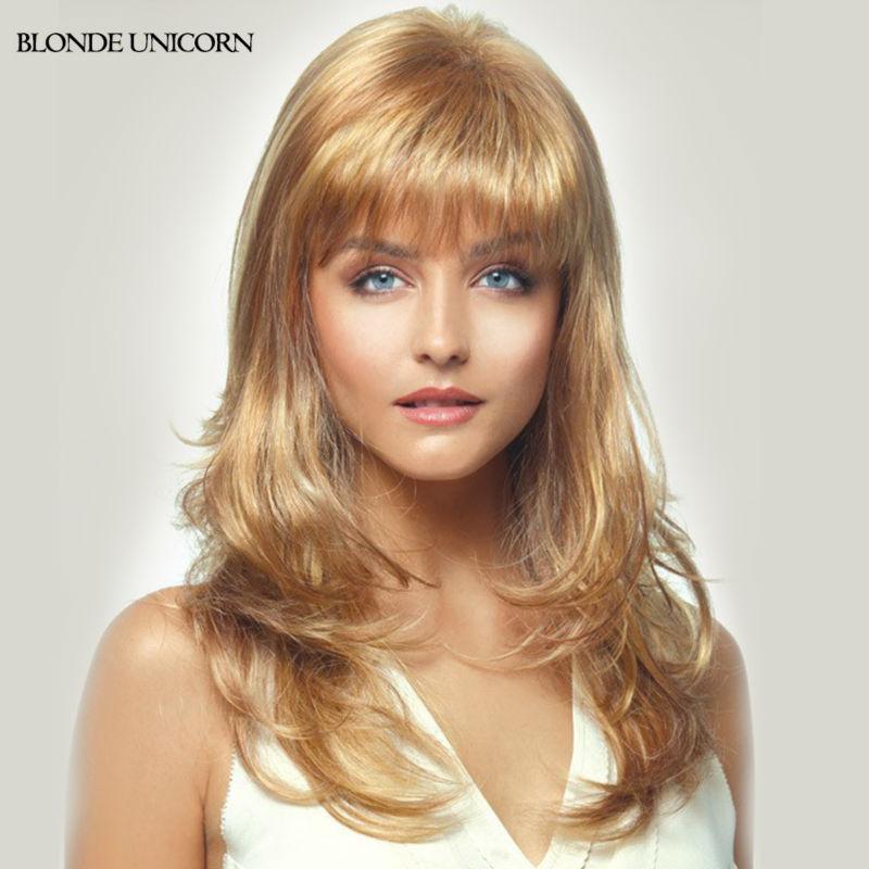 Blonde Unicorn Stylish Wigs Long Human Hair Wigs For Women Neat Bang Blonde Human Hair Wavy Hair Wig 10 Colors Free Shipping(China (Mainland))