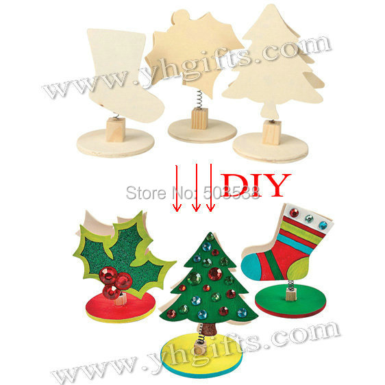 6PCS/LOT.Wood unfinished christmas clip.Name card clip,Picture holder,Desk supplies.Christmas toys.Wood art material.Wholesale(China (Mainland))
