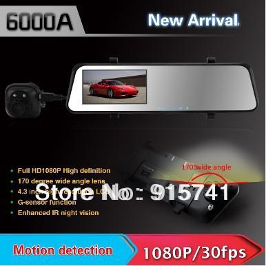 6000A Car Rearview Mirror Camera Recorder DVR Dual Lens 4.3' TFT LCD HD 1920x1080p Rear view camera 720P GPS G-sensor - Top NO.1 Selling Black Box store