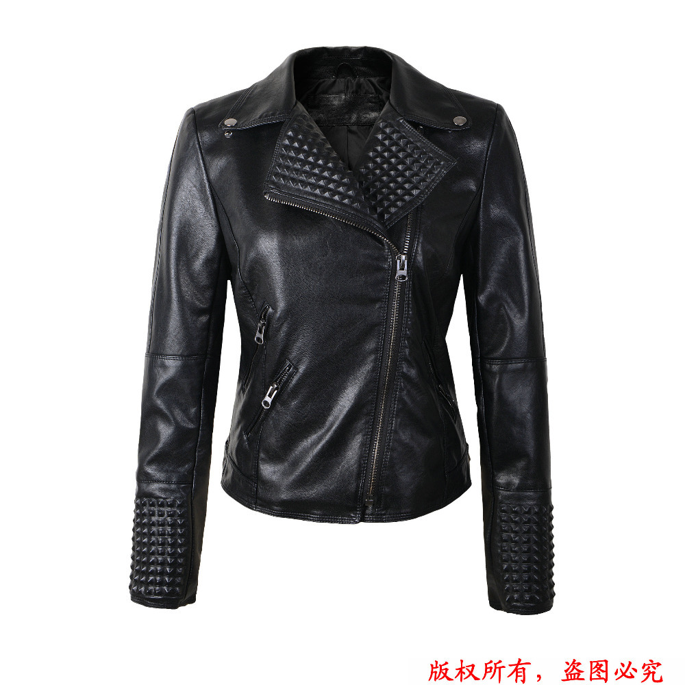 2015 New Women Leather Jackets Fashion Female Rivet Winter Motorcycle Brand Coat Outwear Drop Shipping(China (Mainland))