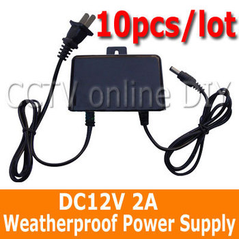 10pcs/lot DC12V 2A Weatherproof Waterproof Outdoor Security CCTV Power Supply Adapter