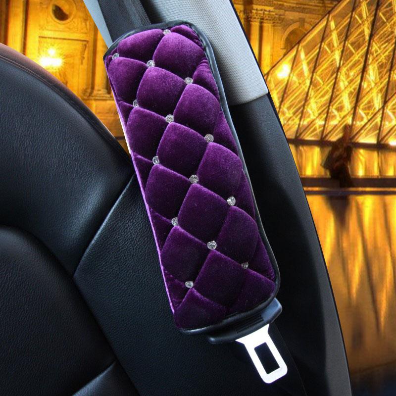2pcs women short plush purple shoulder padding seat safety belt covers-beautiful and comfortable car DIY styling with diamond(China (Mainland))