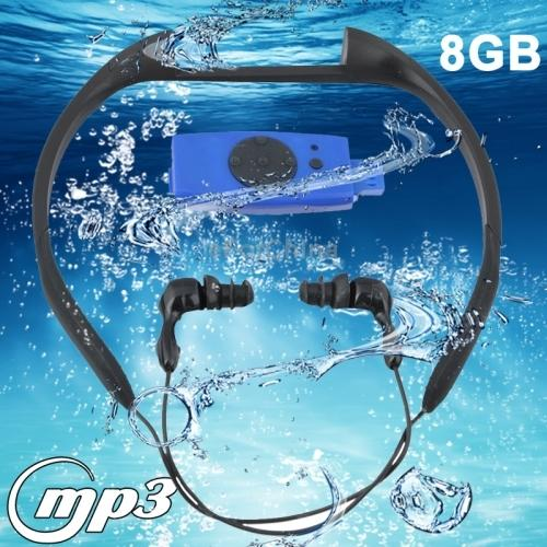 Blue 8GB Waterproof IPX8 Swimming Surfing SPA Music Sports MP3 Player with FM Radio (FS-5)(China (Mainland))