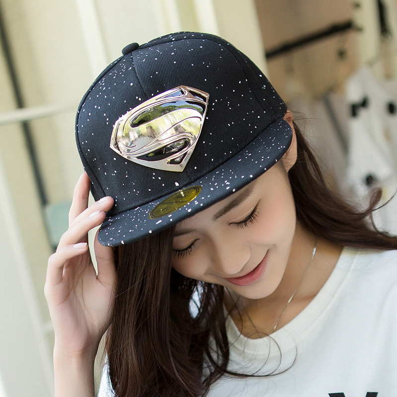 2015 Latest Popular Hip-Hop Explosion Models S Logo Hats Unisex Fashion Superman Baseball Cap Flat Along The Visor Free Shipping(China (Mainland))