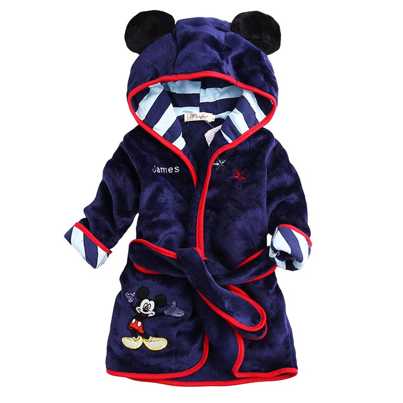 Children Hooded Bathrobe Towel Baby Boys Girls Flannel Lovely Cartoon Animal Robes Dressing Gown Kids Home Clothing - and Accessories store