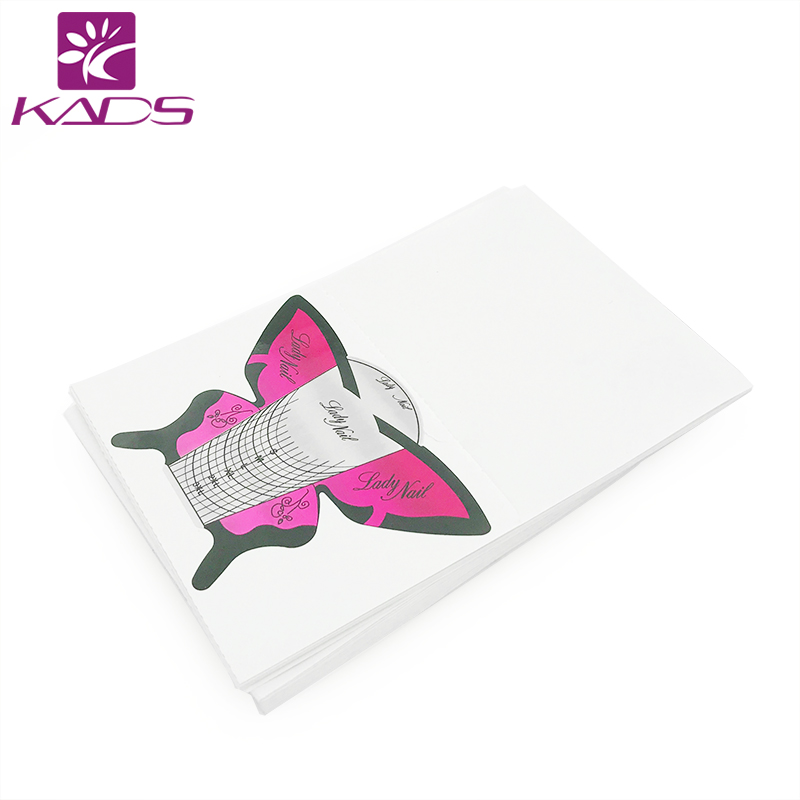 KADS 100pcs/Roll Butterfly nail forms Nail Tools Nail Sculpting Extension Forms Sticker Nail Forms UV Gel Acrylic French