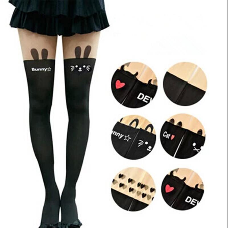 2016 Styles New Harajuku Women Pantyhose Stocking Sexy Personality Bow Heart Stitching Knee Boots Nylon Tights free Shipping(China (Mainland))