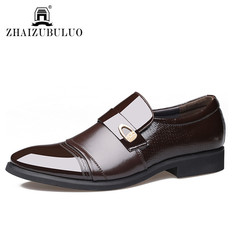 2016 British Style Men Dress Shoes Luxury Brand Pointed Toe Patent Leather Men Oxford Casual Shoes Black Brown Men Wedding Shoes<br><br>Aliexpress