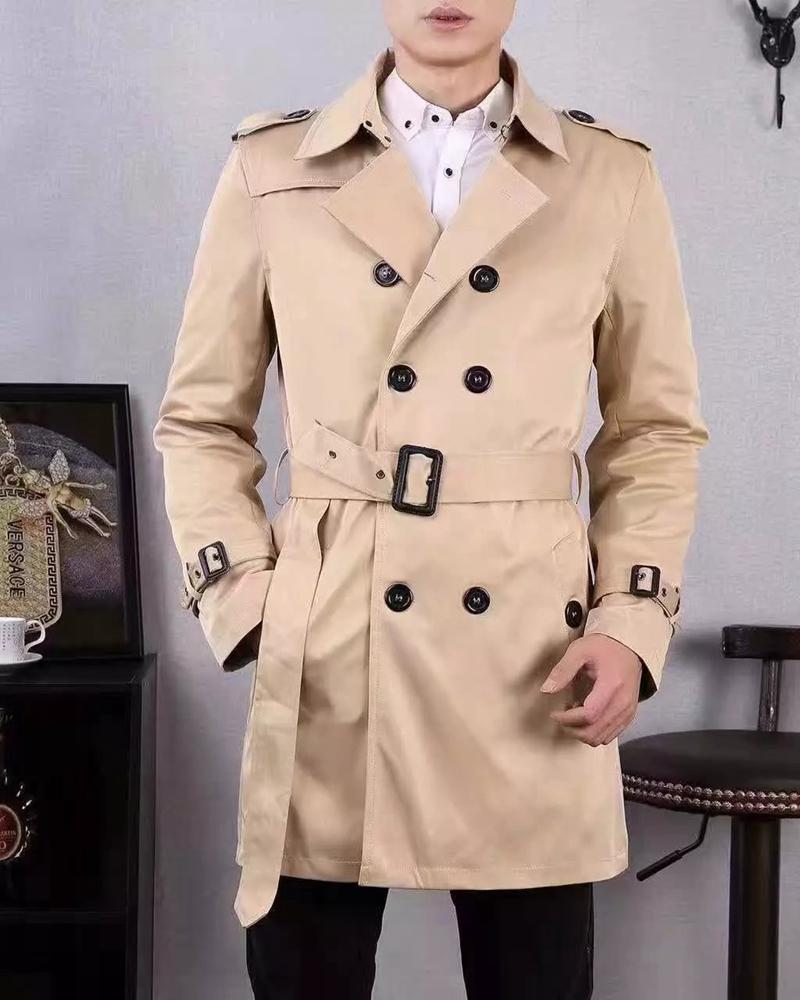 Высокое Качество Британский Стиль Двойной Брестед Мужская С Длинным Пальто Марка Slim Fit Тренч Регулируемый Пояс Ветровка Куртка