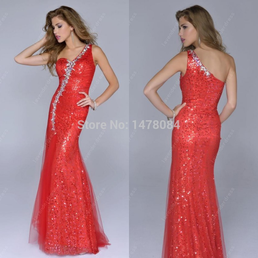 Elegant Sequined One Shoulder Long Peacock Summer Red Mermaid Prom Dress 2014 Party Custom Made - Abby's Bridal Studio store