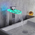 Glass sink faucet led color change waterfall tap chrome led single lever bathroom led water faucet