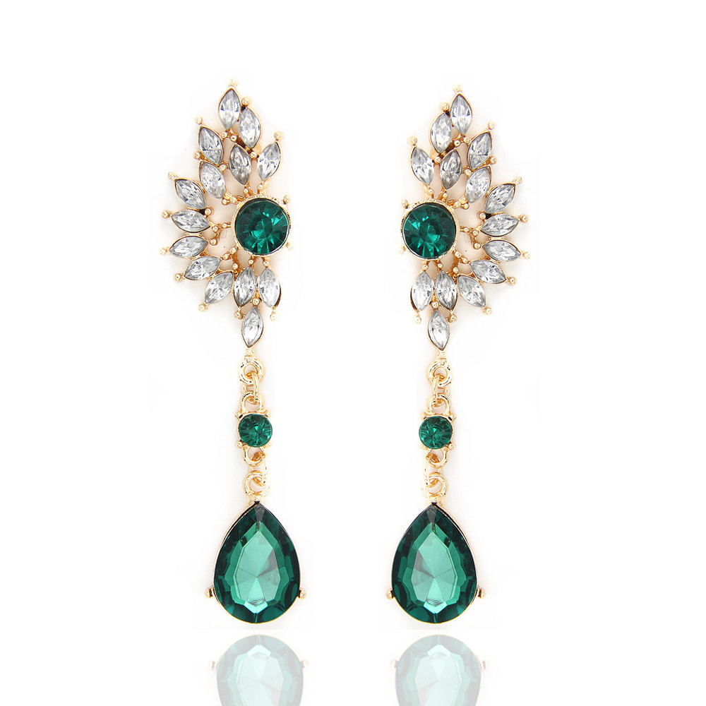 Charm Luxury Jewelry Shine Dazzling Full Rhinestone Wing Eardrop Dangle Earrings Green Red Gift For Women Banquet Wholesale(China (Mainland))