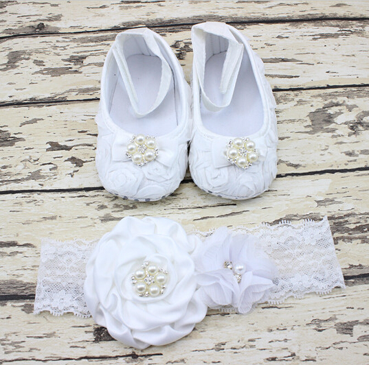 New Flower Shoes with Headband for Baby Girl Fashion Princess Shoes with Rhinestone for Girl Dance Newborn infant shoes 1 pair(China (Mainland))