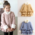 2016 Winter Fur Collar Laciness Girls Child Plus Velvet Thickening Wadded Cotton Padded Jacket