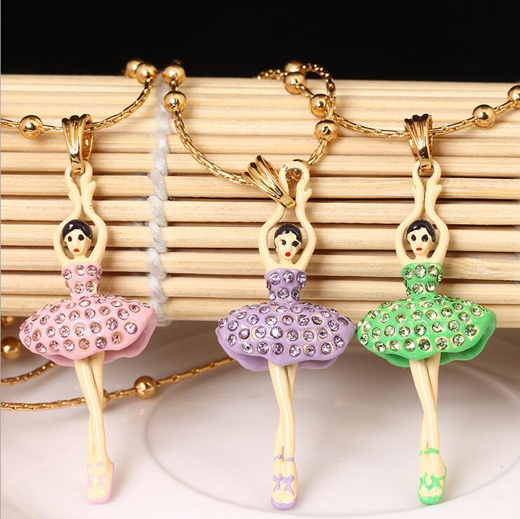 2016 Cartoon characters no fade Necklace ballet beautiful shape new gold plated short paragraph jewelry gift